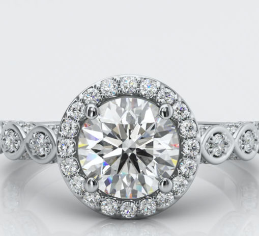 White Gold Pave Halo Diamond Engagement Ring Animation