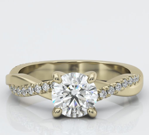 Yellow Gold Pave Twist Diamond Engagement Ring