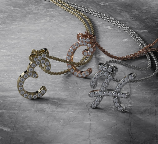 Diamond Initial Necklaces in White Gold for Women
