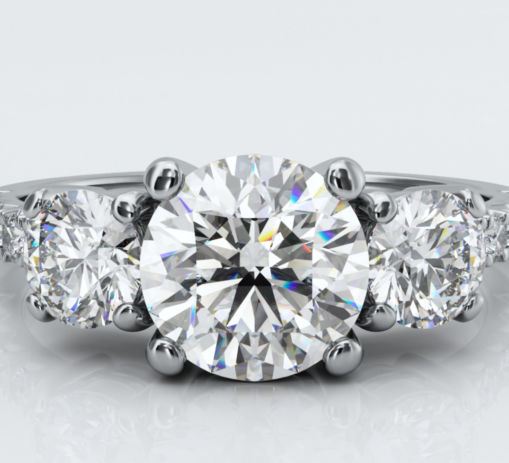 White Gold Three Stone Diamond Engagement Ring