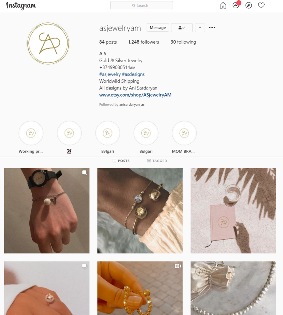 AS jewelry Instagram